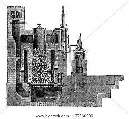 Steam Boiler Mathelin and Garnier, vintage engraved illustration. Industrial encyclopedia E.-O. Lami - 1875.