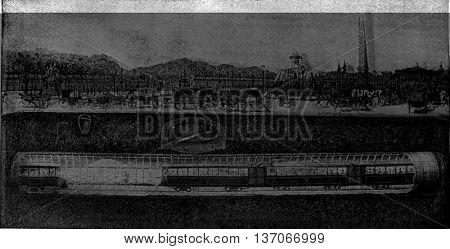The Metropolitan under the Place de la Concorde, vintage engraved illustration. Industrial encyclopedia E.-O. Lami - 1875.