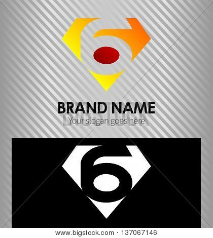 Logo number 6 company icon design template