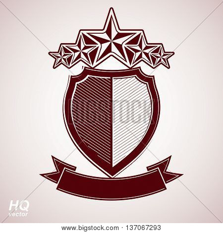 Vector aristocratic symbol. Festive graphic shield with five stars and curvy ribbon, decorative luxury security template.