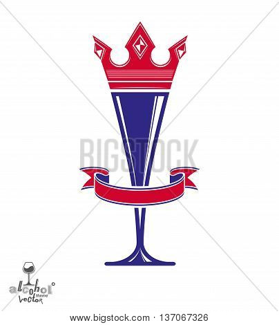 Majestic wineglass with monarch crown and curved ribbon art goblet best for use in graphic design.