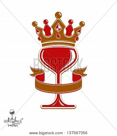 Sophisticated luxury wineglass with golden imperial crown and decorative curved ribbon. Royal vector goblet.