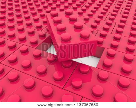 Toy bricks in red color in backgrounds . 3D illustration