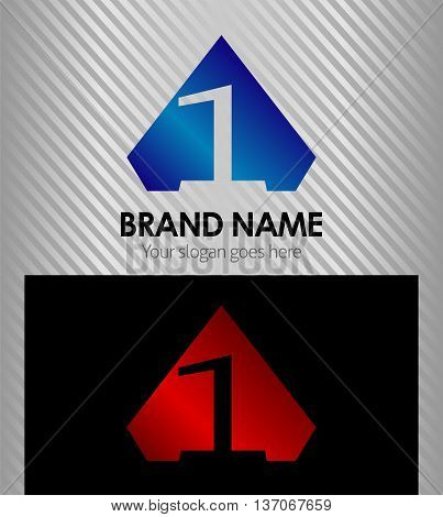 Logo number 1 company one icon design template