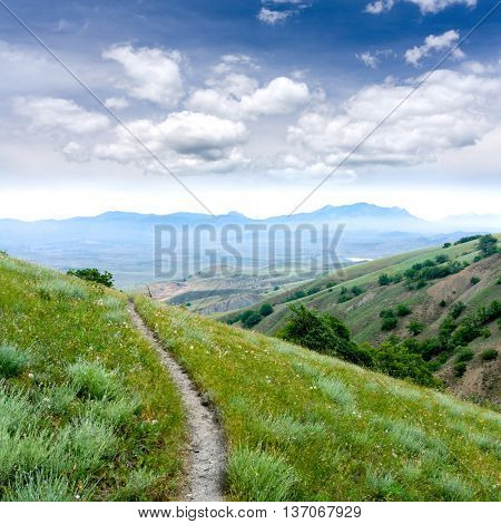 landscape with pathway in mountains
