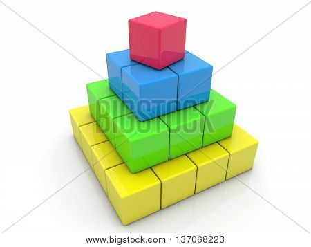 Toy cubes assembled in pyramid on white . 3D illustration