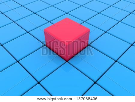 Blue and red cubes, buttons . 3D illustration