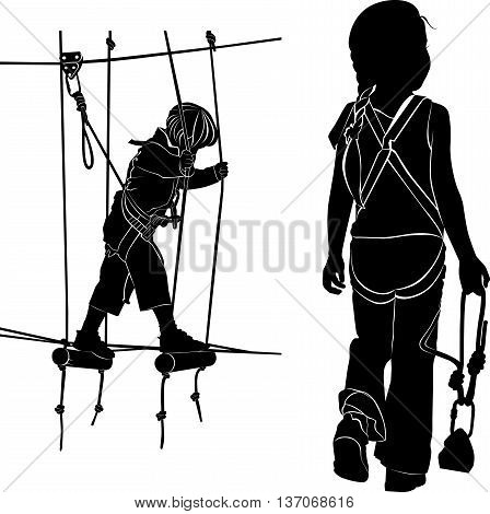 children in adventure park rope ladder. children have a rest in the ropes course. vector black silhouette isolated on white background