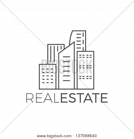 Vector modern house logo design, real estate icon suitable for info graphics, websites and print media. Vector, flat icon, badge, label, clip art. Lineart style. Thin line design. Monochrome.