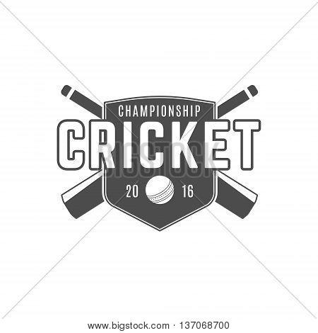 Cricket team emblem and design elements. Cricket championship logo design. Cricket club badge. Sports symbols with cricket gear - bats, ball. Use for web design, tee design or print on t-shirt.
