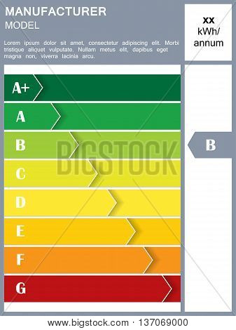 Energy efficiency rating table with sample text