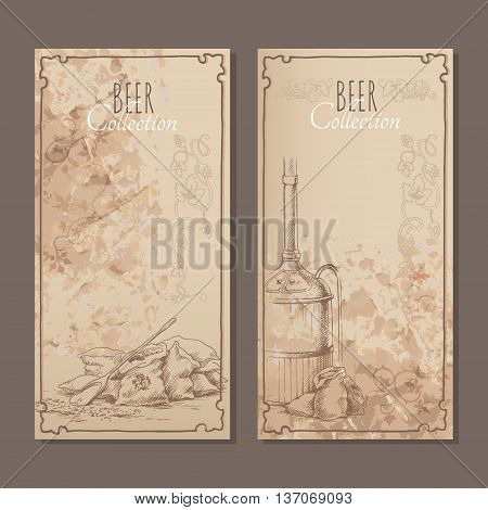Menu cards for beer with hand drawn sketches of bags with malt and beer tank. Vector illustration.
