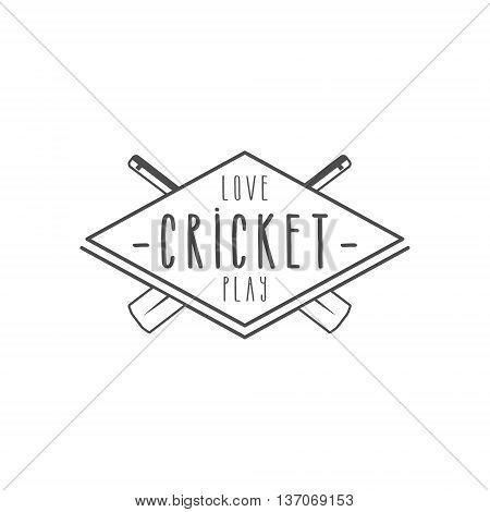 Cricket club emblem and design elements. Cricket team logo design. Cricket line stamp. Sports symbols with cricket gear, equipment. Use for web design, tee design or print on t-shirt. Monochrome.