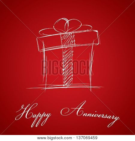 Happy Anniversary and gift box on red background. Happy Anniversary card.
