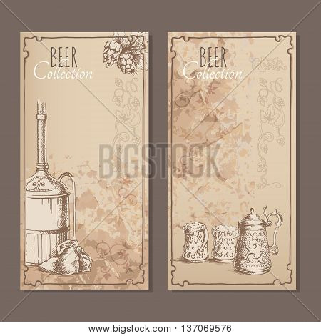 Menu cards for beer with hand drawn sketches of beer pints bags with malt and beer tank. Vector illustration.