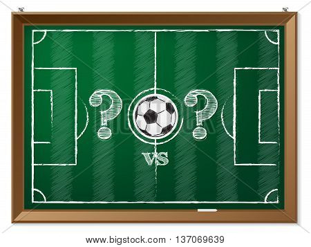 Soccer field drawing with question mark vs question mark