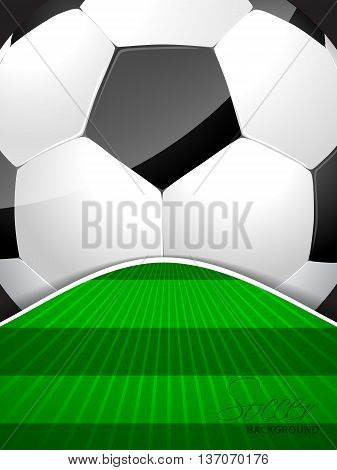 Abstract soccer brochure template with huge ball and bursting field