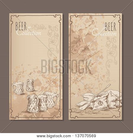 Menu cards for beer with hand drawn sketches of beer glasses and bags with malt. Vector illustration.