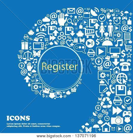 Register Sign Icon. Membership Symbol. Website Navigation . Nice Set Of Beautiful Icons Twisted Spir