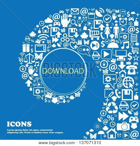 Download Icon. Upload Button. Load Symbol . Nice Set Of Beautiful Icons Twisted Spiral Into The Cent