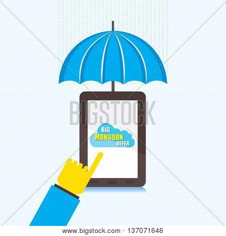 online big monsoon offer banner design using touch tablet  vector