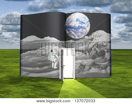Book with science fiction scene and open doorway of light 3D Render