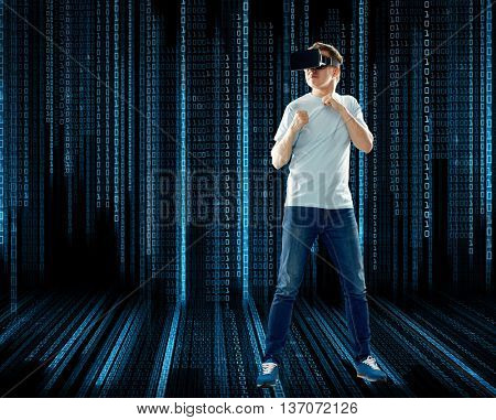 3d technology, virtual reality, entertainment, cyberspace and people concept - young man with virtual reality headset or 3d glasses playing game and fighting over black background with binary code