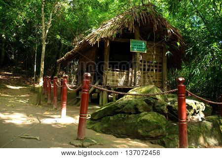CAO BANG, Vietnam, June 22, 2016 the historic shack Na Lua, a simple cottage. Accommodation, late president Ho Chi Minh, Vietnam. Cao Bang Province, Vietnam