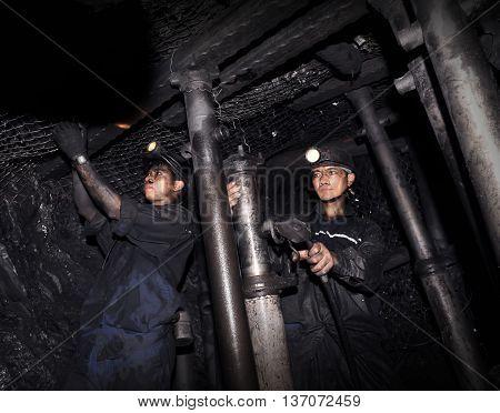 Quang Ninh, Vietnam, May 24, 2016 coal miners, Mao Khe coal mine, Quang Ninh province, Vietnam