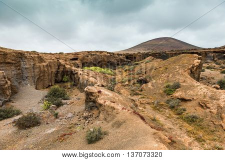 landscape with stony and rocky terrain of Lanzarote, Spain