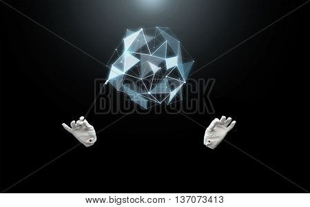 performance, illusion, technology and virtual reality concept - magician hands in gloves with magic wand showing trick with low poly virtual shape over black background