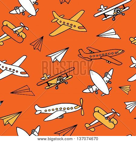 Seamless pattern of flying aircraft. Vector image of aircraft. Yellow and white airplanes on a orange background. Can be used for Wallpaper, fabrics, packaging.
