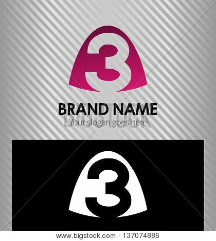 Number three logo.Logo 3 vector template template design vector