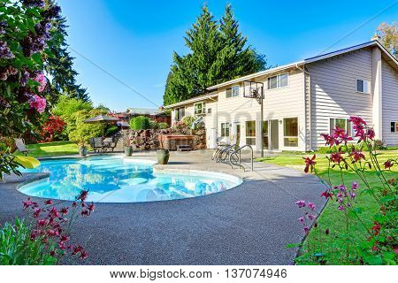 Backyard With Small Beautiful Swimming Pool