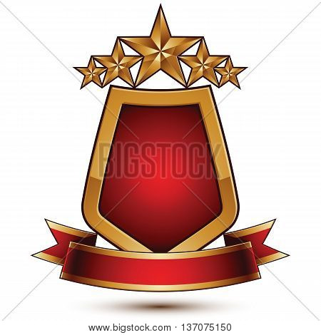 3d vector classic royal symbol sophisticated protection shield with golden star and red wavy ribbon