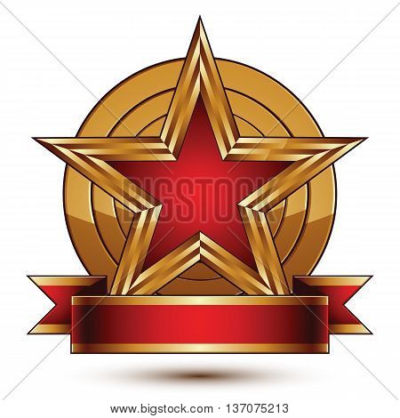 Golden vector stylized round symbol with red glamorous pentagonal star