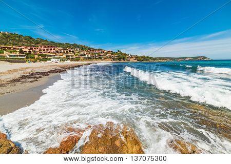 waves in Piccolo Pevero beach in Sardinia
