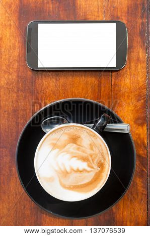 Up View Of Coffee Smartphone With Blank Screen