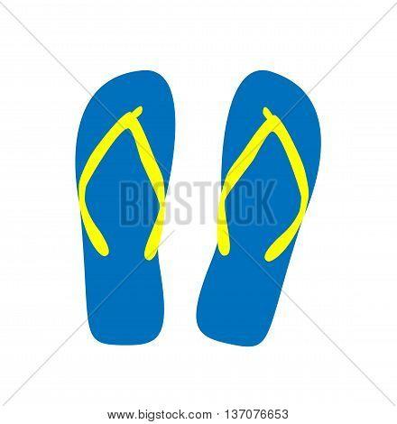 Pair of flip-flops. Vector illustration. blue color