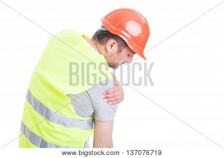 Young Builder Feeling Tension In Right Shoulder