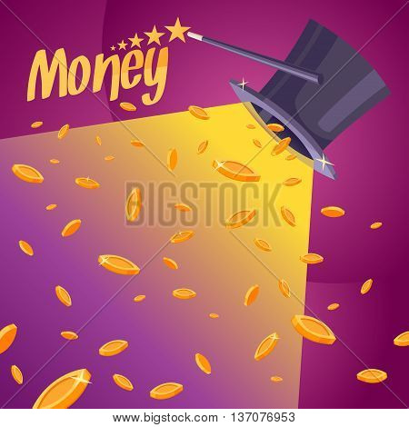 Vector illustration of a colourful cartoon style. The image of the coins the headdress of the cylinder and a magic wand for advertising website design poster banner sales and flyers.