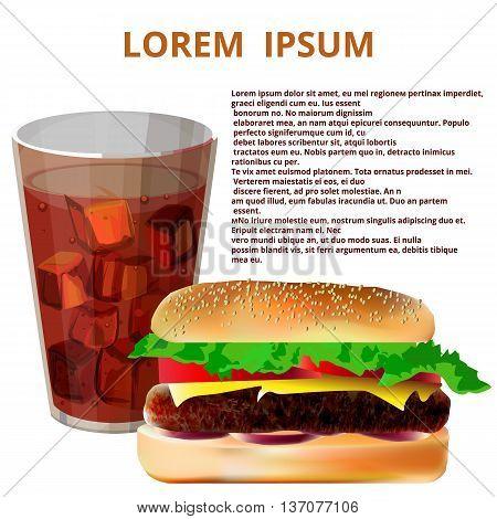 cola and hamburger on a white background lorem ipsum text