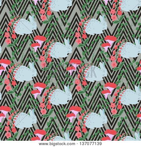 seamless pattern rabbit on a geometric background