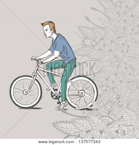 Hand drawn illustration of young guy riding his bicycle. Vector illustration with floral elements for greeting card poster print on clothes or else.