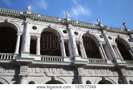 Vicenza, Italy. Ancient Tower Of Monument Called Basilica Pallad