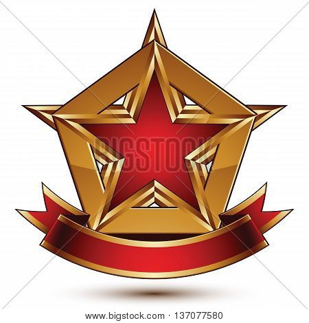 Golden vector stylized symbol with red star and glamorous wavy ribbon.