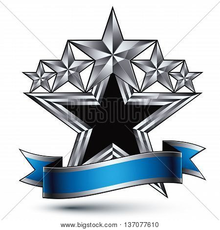 Heraldic vector template with five pentagonal silver stars and blue wavy ribbon silver 3d royal geometric blazon isolated on white background.