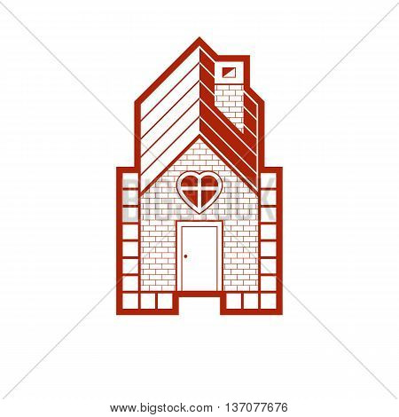 Family house abstract icon harmony at home concept. Simple vector building constructed with bricks