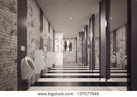 Public restroom for men with urinals (3D Rendering)