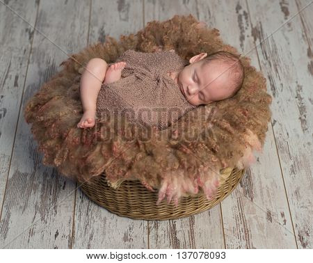 beautiful wrapped baby sleeping sweet on fluffy round cot, top view